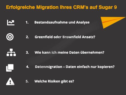 1) Bestandsaufnahme und Analyse - Was muss ich für eine erfolgreiche Migration beachten? 2) Greenfield oder Brownfield Ansatz? 3) Wie kann ich meine Daten in das neue CRM übernehmen? 4) Datenmigration – Daten einfach nur kopieren? 5) Welche Risiken gibt es?